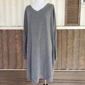 Ava & Viv gray knit tunic dress tie back size 1X